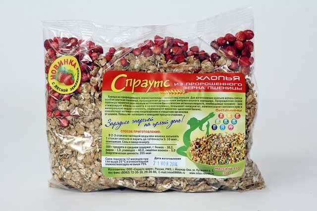 Хлопья из пророщенного зерна пшеницы с лесной земляникой (0,3 кг.)