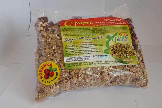 Хлопья из пророщенного зерна пшеницы с брусникой (0,3 кг.)