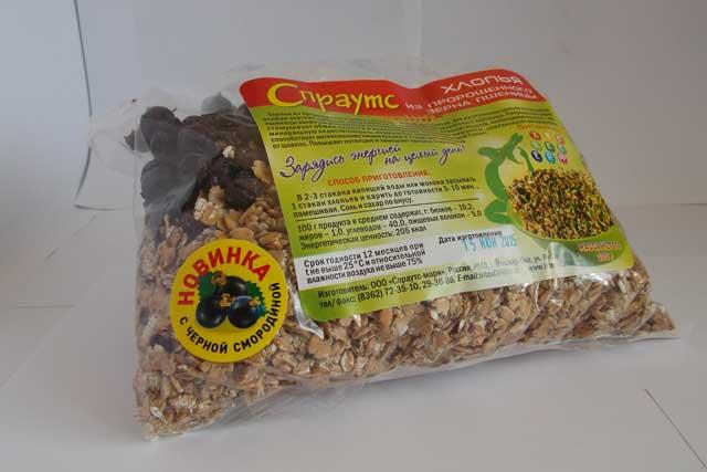 Хлопья из пророщенного зерна пшеницы с черной смородиной (0,3 кг.)